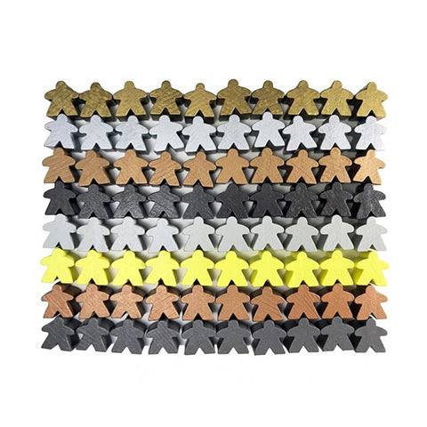 Metallic Color Wooden Meeples - 80