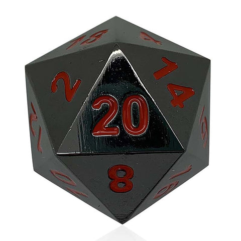 Boulder: Metal D20 - Black with red font