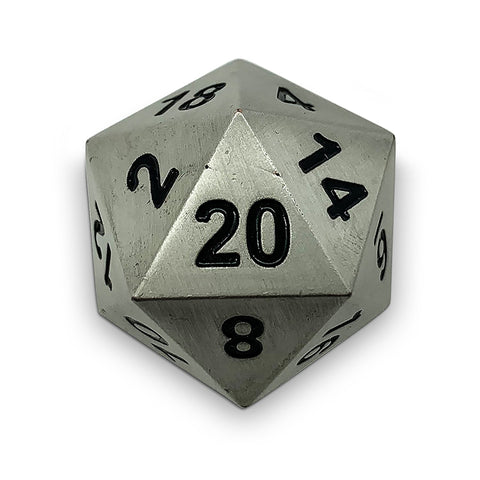 Boulder: Metal D20 - Antique Silver with black font
