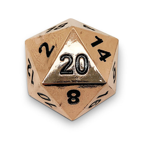 Boulder: Metal D20 - Shiny Copper with black font