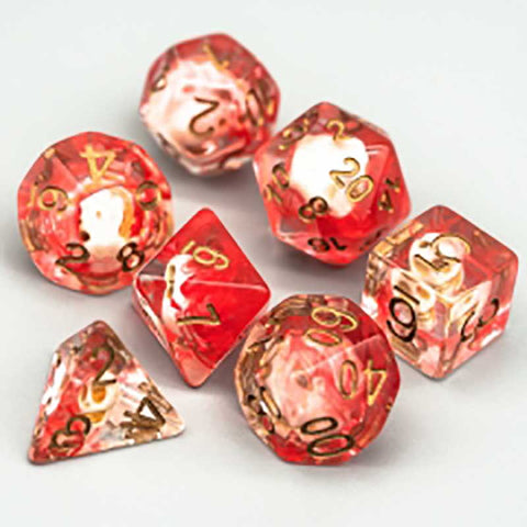 Red Smoke Skull Dice w copper font 7 Dice Set