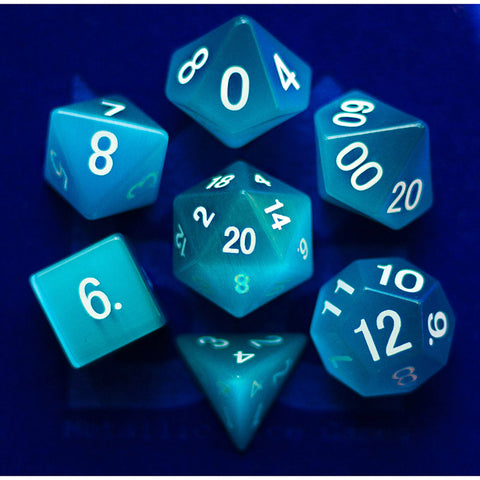 16mm Cat's Eye Aquamarine set of 7 Gemstone dice