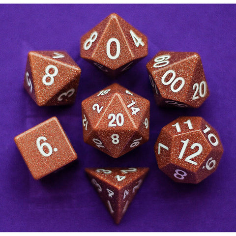 16mm Goldstone Set of 7 Gemstone dice
