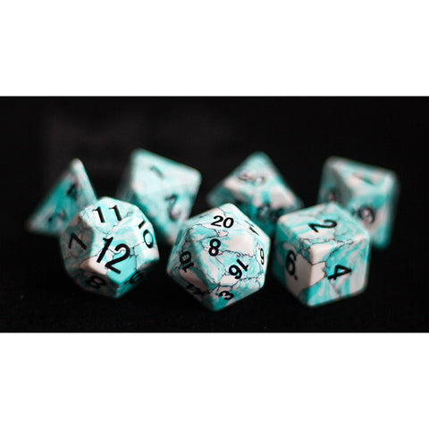 16mm Synthetic Blue Turquoise Set of 7 Gemstone dice