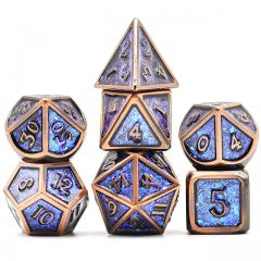 Photosensitive Purple Blue Golden with antique copper edges and font metal 7 Dice Set