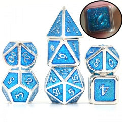 Light Blue Glitter Enamel with silver edges and font metal 7 Dice Set