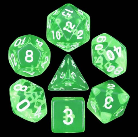 Transparent Green with white font Set of 7 Dice