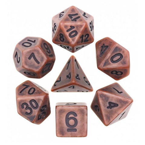Ancient Copper with black font Set of 7 Dice