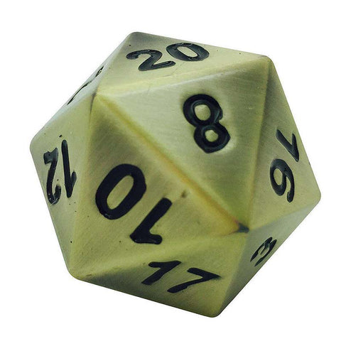Boulder: Metal D20 - Antique Gold with black font