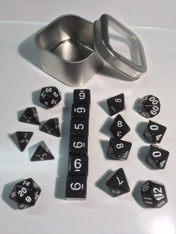 "Opaque Black with white font Set of 20 ""Pandy Dice"""