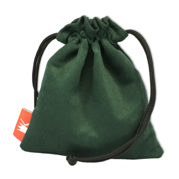 Red King Dice Bag: Green Suede Pouch
