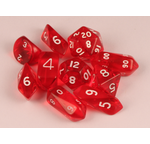 10 piece Hybrid Translucent dice - Red