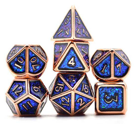 Photosensitive Blue Green w copper edges and font metal 7 Dice Set