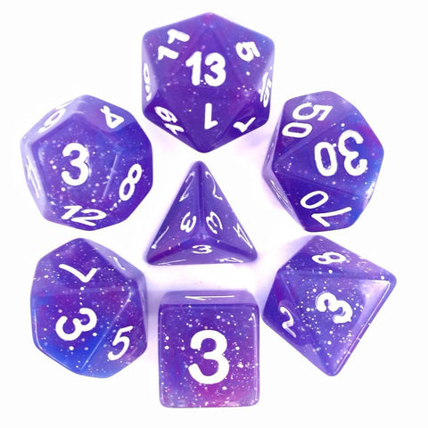 Galaxy Blue Purple with white font Set of 7 Dice