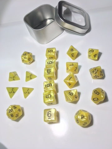 "Pearl Yellow with black font Set of 20 ""Pandy Dice"""