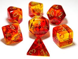 Lab Dice 3: Gemini® Translucent Polyhedral Red-Yellow with gold font 7 Dice Set [CHX30024]