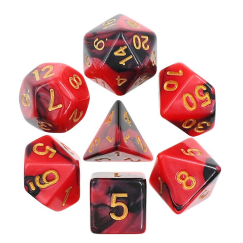 Blend Red Black with gold font Set of 7 Dice