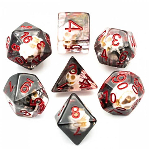 Black Smoke Skull Dice w red font 7 Dice Set