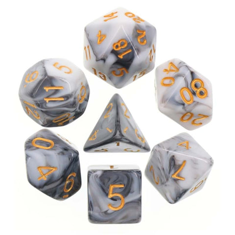 Blend White Black with gold font Set of 7 Dice