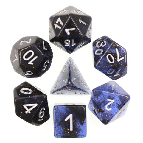 Glitter Dark Blue with silver font Set of 7 Dice