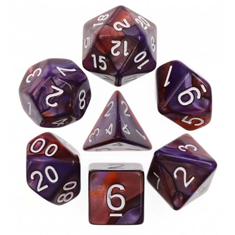 Blend Copper Blue with white font Set of 7 Dice