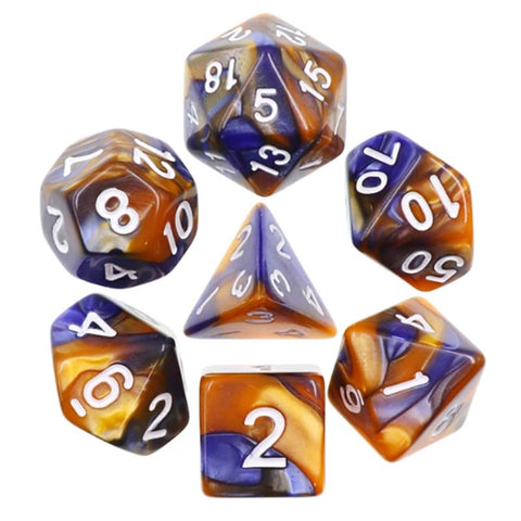 Blend Dark Blue Gold with white font Set of 7 Dice