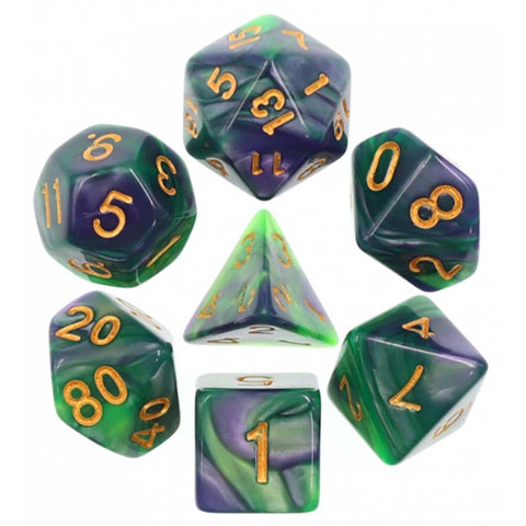 Blend Green Purple with gold font Set of 7 Dice