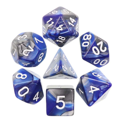 Blend Silver Blue with white font Set of 7 Dice