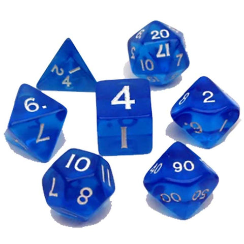 Blue Translucent with white font set of 7 dice [VAL010102]