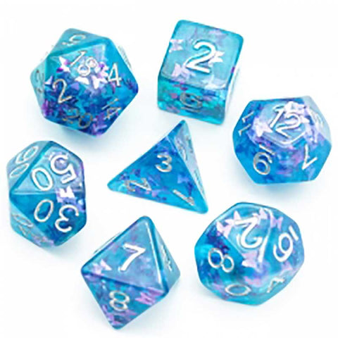 Floating Blue & Green butterflies w silver font 7 Dice Set