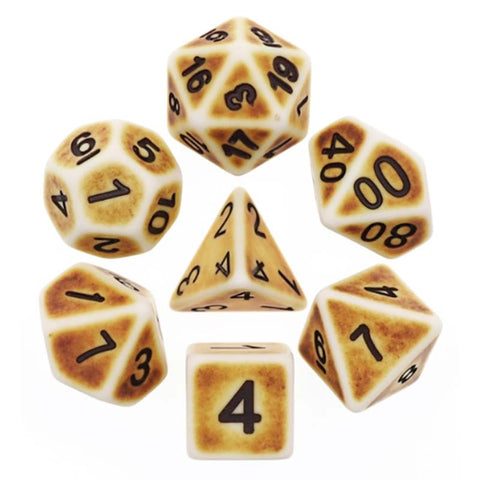 Ancient Brown with black font Set of 7 Dice
