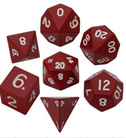 Painted Metal Red with white font 7 Dice Set