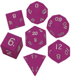 Painted Metal Pink with white font 7 Dice Set