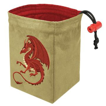 Red King Dice Bag: Suede Fantasy Red Tan Dragon