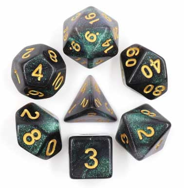 """Emerald Aurora"" with gold font Set of 7 Dice"