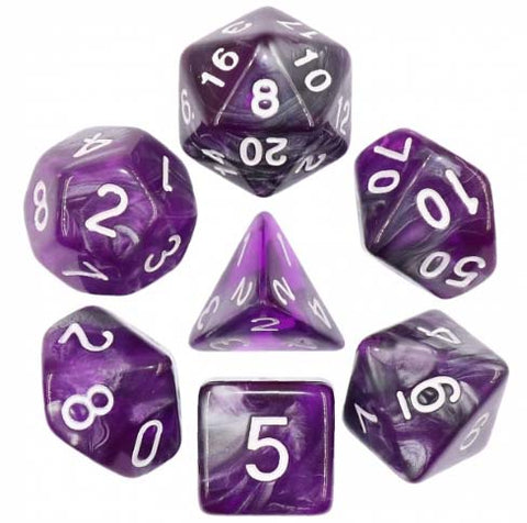 "Blend Purple Silver ""Dark Crystal"" with white font Set of 7 Dice"