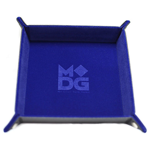 Blue Velvet w black leather backing folding Dice Tray