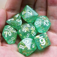 Green Shimmer Gold Foil w white font 7 Dice Set