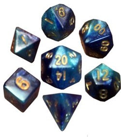Blue/Light Blue with Gold Numbers 10mm Mini 7 Dice Set