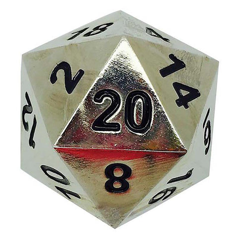 Boulder: Metal D20 - Shiny Silver with black font