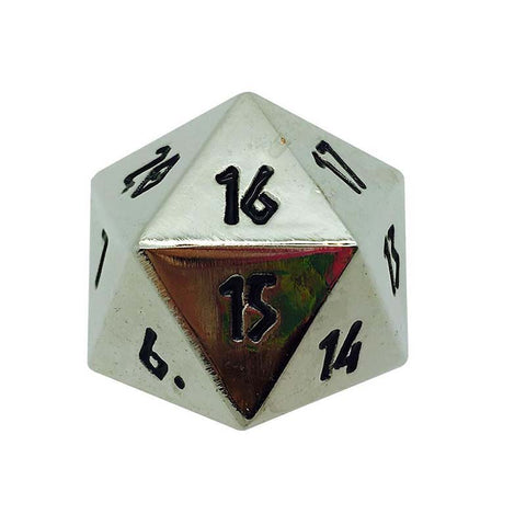 Metal Countdown D20 - Shiny Silver with black font