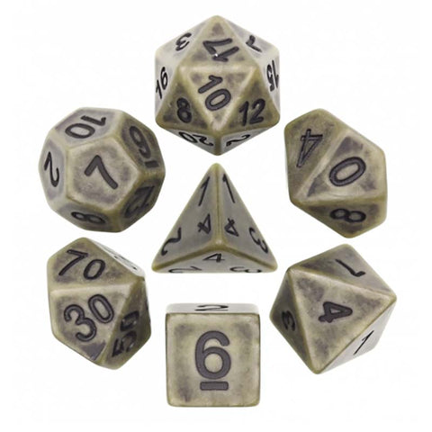 Ancient Cyan with black font Set of 7 Dice