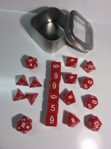 "Opaque Red with white font Set of 20 ""Pandy Dice"""