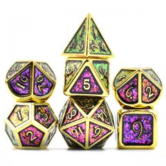 Photosensitive Purple Green w gold edges and font metal 7 Dice Set