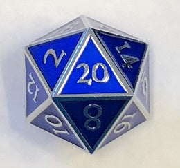 Giant Metal Blue Enamel with silver edges + font 35mm D20