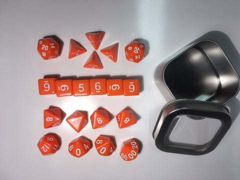 "Opaque Orange with white font Set of 20 ""Pandy Dice"""