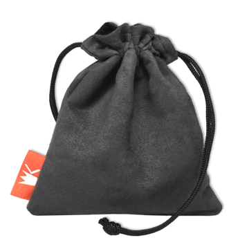 Red King Dice Bag: Gray Suede Pouch