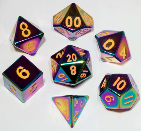 Painted Metal Flame Torched Rainbow with yellow font 7 Dice Set
