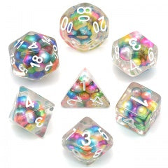 Floating Rainbow Pearls w white font 7 Dice Set