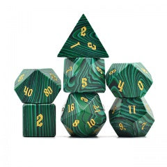 Natural Malachite w gold font Set of 7 Gemstone Dice